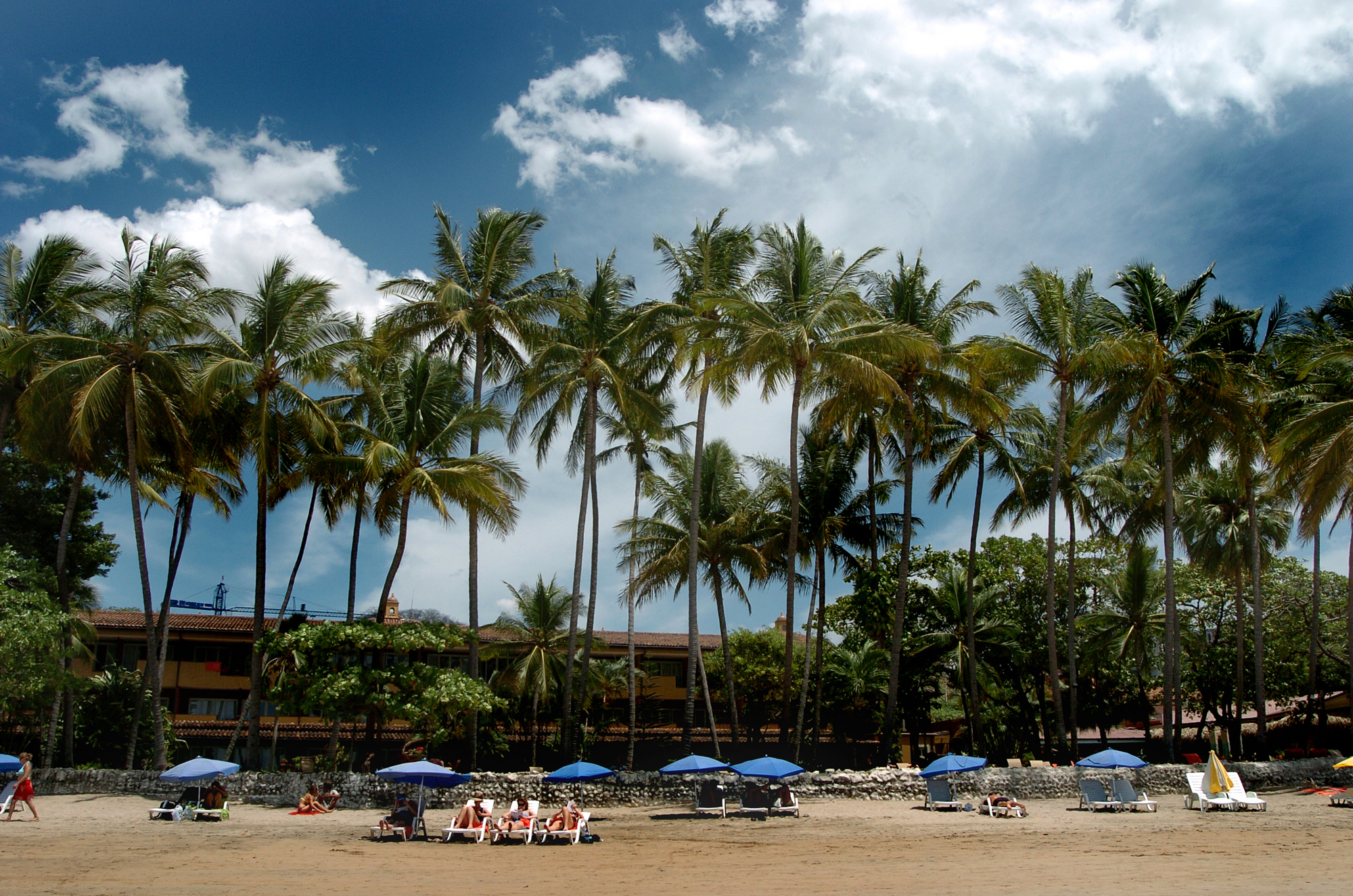 Oceanfront hotel and lounge on the main beach in Tamarindo, Costa Rica.